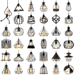Metal Pendant Light Shade Ceiling Industrial Chandelier Wire Cage Lampshade Lamp