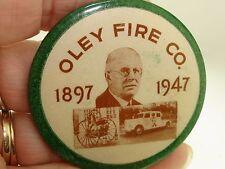 ANTIQUE OLEY FIRE CO., PENNSYLVANIA 1947 SESQUICENTENNIAL CELLULOID MIRROR!