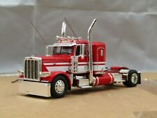 "Dcp Custom red/white Peterbilt 389 36"" single axle tractor 1/64"