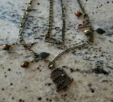 Necklace Antique tone Charms and magnetic gate/door that opens Lock N Key leaves