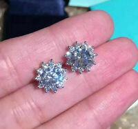 4Ct Round Cut VVS1/D Diamond Halo Womens Stud Earrings 14k White Gold Finish
