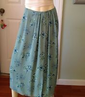 Skirt Mid Calf Turquoise Size 6 Soft Silk Polyester Flowing Liz Claiborne