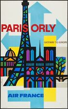 AIR FRANCE PARIS ORLY Vintage Travel poster 1963 JEAN NATHAN art NEAR MINT RARE