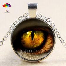 Vintage Cabochon Tibetan Silver Glass leopard eye Chain Pendant Necklace zqd97