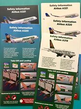 FIVE 2018 FRONTIER AIRLINES SAFETY CARDS--AIRBUS 319,320,321