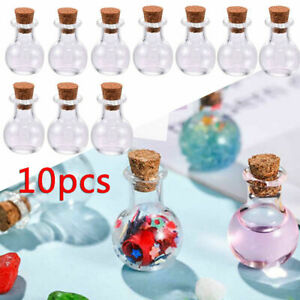 10x Small Glass Message Vials With Cork Top 0.5ml Tiny Bottles Little Empty Jars