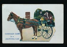 Ireland Co Kildare CURRAGH CAMP Jaunting Car Pocket Novelty c1900/20s? PPC