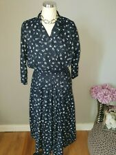 BHS vintage navy floral long sleeve midi pocket tea dress Size 12 vtg retro