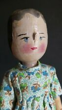 """MYSTERY Antique? REPRODUCTION? 12"""" Penny Grodertal All WOODEN Jointed  PEG DOLL"""