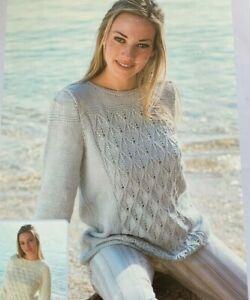 """Ladies Lace Tunic Jumper 32-42"""" DK Knitting Pattern  L10"""