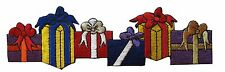 #4017 Purple/Red/Blue Christmas Gift Box Embroidery Iron On Applique Patch
