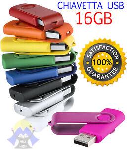 PEN DRIVE Chiavetta USB Penna CHIAVE Memoria FLASH 16 gb UNIVERSALE Colorata 2.0