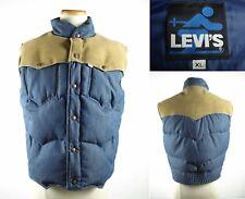 Vintage LEVI'S Leather & Denim Goose Down Puffer Ski Vest Yoke Sz XL