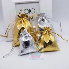 12/25/50/100pcs Gold Silver Metallic Cloth Fabric Pouch Bag 9cmX7cm 12cmX9cm