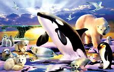 Jigsaw Puzzle Animal Wild Whale Polar Bear Kingdom 100 pieces NEW made in USA