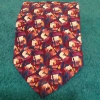John Weitz Abstract Multi-colored Silk Mens Neck Tie