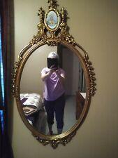 Vintage Lg Antique Floral Wood Gilt Gesso? Carved Oval Hanging Mirror