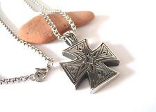 Collana in Acciaio Inox Ciondolo Croce di Ferro Celtica Unisex color Argento Top