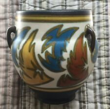 1927 Gouda Arnhem Holland 3-Handled Vase - Black, Yellow, Blue, & Gold