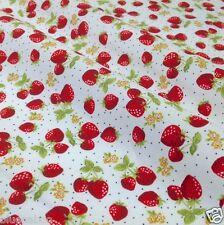 Por medio metro de fresas y crema de Tela 100% algodón popelín 44 Cm De Ancho