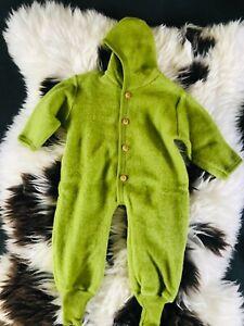 baby Wollanzug Schurwollanzug Wolloverall Gr. 62/68 grün NEU 100%Wolle