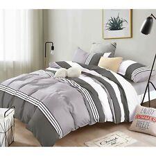 Dcp 5-Piece Microfiber Comforter Set Bed in a Bag,lightweight,Stripes Grey,Queen