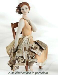 Estatua de Porcelana Figurilla Mujer Asiento En Silla Hecho a Mano Italia -