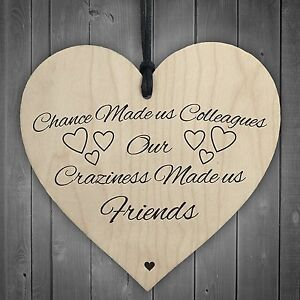 Red Ocean Chance Made Us Colleagues Novelty Wooden Hanging Heart Plaque Sign