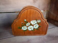Vintage Wood Letter Holder Paper Rack with Daisy Flower Picture