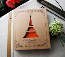Orange faux leather notebook-black paper cardboard/Album scrapbook journal
