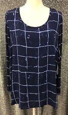 One World Womens Plus Sz 1X Blue Striped Long Sleeve Split Back Blouse Top NWT