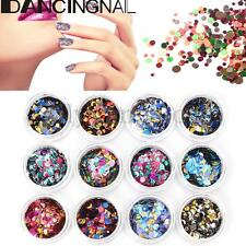 12Pcs Ultrathin Glitter Sequins Multi Color Round Nail Art Decoration Manicure