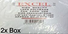 """EXCEL CLEAR PLASTIC LDPE FOOD POLY BAGS 18"""" x 24"""" 250G (200x BAGS)"""
