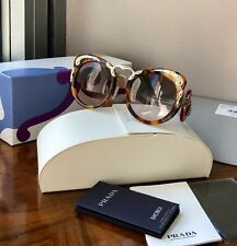 NEW PRADA Minimal Baroque Butterfly Cat Eye Tortoise W/Red Arm Sunglasses $570