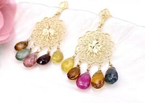 Natural Tourmaline & Solid 14K Yellow Gold Chandelier Dangle Post Earrings, New