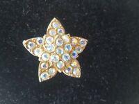 Vintage 1950s AB Rhinestone 3D relief star brooch