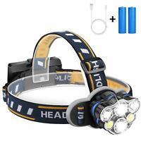 100000LM 5X CREE T6 LED Headlamp Bike Headlight Flashlight Head Torch Riding