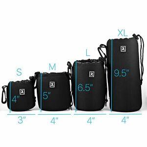 Camera Lens Pouch Protector Bag Case Neoprene DSLR Water Resistant Set 4 Pack
