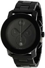 NEW MOVADO BOLD 43.5MM CHRONO STAINLESS STEEL CASE BLACK DIAL QUARTZ 3600048