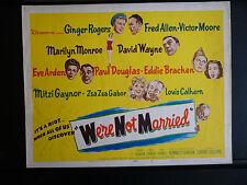 1952 WE'RE NOT MARRIED! - FULL 8 LOBBY CARD SET - MARILYN MONROE - GINGER ROGERS