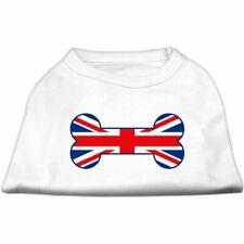 Mirage Bone Shaped United Kingdom Union Jack Flag Screen Print DOG Shirt WHITE