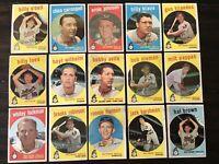 ⚾️1959 Topps Baseball Cards Baltimore Orioles Lot Of 15 Brooks Robinson HOF⚾️