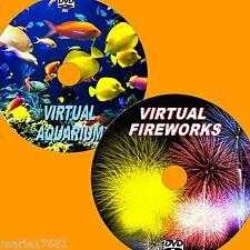 VIRTUAL AQUARIUM AND FIREWORKS 2 DVD VIDEOS FOR PLASMA/ FLATSCREEN TV/PC ETC NEW
