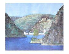 Helga Westphal Loreley St. Goarshausen und Burg Katz Poster Kunstdruck Bild