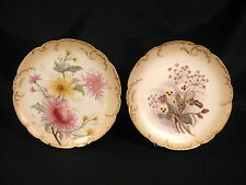 H & Co. Limoges Cabinet Plates Hand Painted Thistle & Mum Flowers Set of 2