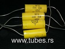 Four vintage Iskra Keu capacitors 330nF 250V Nos Made in Yugoslavia in 1984