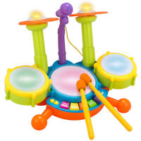 Kids Beat Drum Set Junior 3 Pads Educational Drumsticks Led Light Musical Toys