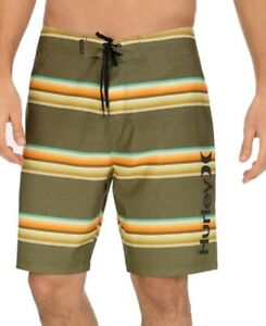 "Hurley Mens Swimwear Green Size 32 Board Shorts 20"" Striped Drawstring $39 #098"