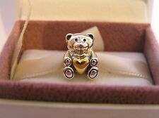 Teddy Bear Sterling Silver S925 and Gold,  Box Option Bracelet