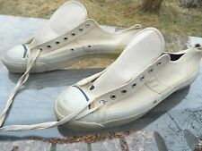 Unknown Brand White Canvas Tennis Shoes / Size: 14 / Made in USA / Deadstock